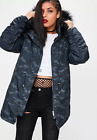 MISSGUIDED navy camouflage printed hooded parka jacket RRP £65 (M61/2)