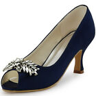 HP1540 Navy Blue Mid Heel Pumps Peep Toe Women Satin Evening Party Shoes