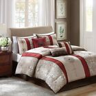 Posh 7pc Deep Red & Taupe Striped Geometric Comforter Set with Deco Pillows