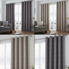 Camberwell Geometric Lined Curtains with Grommet Top - Gray Beige Silver