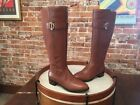 Isaac Mizrahi Cognac Brown Leather & Stretch Senso Riding Boots New