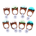 Handmade Wood Resin Ring With Magnificent Tiny Fantasy Secret Landscape Gift <G
