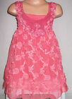 GIRLS CORAL FLORAL RIBBON SHIMMER CHIFFON ROSETTES TRIM PARTY DRESS and LEGGINGS