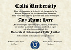 Indianapolis Colts #1 Fan Custom Diploma Certificate for Man Cave NFL Novelty $12.99 USD on eBay
