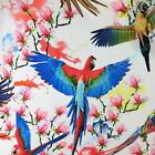 lovely birds on white silk spandex stretch satin fabric material for dress