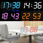 Modern Digital 3D LED Display Wall Clock Alarm Snooze Home Office USB Battery