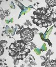 Coloroll Utopia Wallpaper - Silver M1039 - Shabby Chic Floral  Birds Butterflies