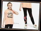 NWT JUSTICE Girls 8 10 Bright Coral Sparkle Unicorn Swingy Tee & Leggings Set