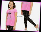 NWT JUSTICE Girls 8 10 Neon Pink Llama Sparkle Swingy Tee & Leggings Set Outfit
