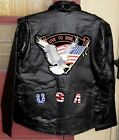 LEATHER JACKET MEN'S MOTORCYCLE w/EAGLE USA & LIVE TO RIDE PATCHES