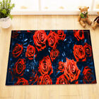 Waterproof Beautiful Red Roses Shower Curtain Fabric Polyester Bathroom Bath Mat