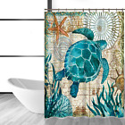 Shower Curtain Blue Sea Turtle Seahorse Whales Octopus Polyester Waterproof Prin