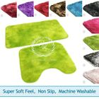 2pc Plush Shaggy Bath Mat Set & Pedestal Non Slip Machine Washable