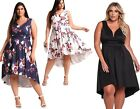 Womans Floral Boho Sleeveless V Neck Hi-lo Swing Party Dress Plus Size 16 - 24
