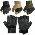 Mens Armour Half Finger Protective Gloves Shooting Airsoft Paintball Fingerless