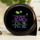 Comma Shape wireless outdoor Weather Station Digital Alarm Table Clock Black