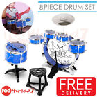 DRUM KIT SET Kids Musical Toy Pretend Play Drummer Stool 8 Piece Jazz Band Blue