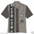 NEW 3 THREE STOOGES MENS FILMSTRIP HAWAIIAN BUTTON DOWN CAMP SHIRT SIZE LG LARGE