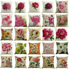 26 by 26 pillow case - Floral Print Cotton Linen Cushion Cover Throw Pillow Case Sofa Home Decor 18""