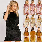US New Womens Crushed Vintage Velvet Mini Dress Cocktail Party Ball Gown Dresses
