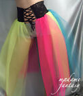 LONG CORSET STYLE BLACK LACE UP TOP RAINBOW NET TUTU SKIRT XS S M L XL XXL XXXL