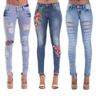 NEW SEXY WOMEN LADIES BLUE RIPPED SKINNY EMBROIDERED JEANS PANTS UK SIZE 6-14