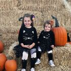 1-6Y Kids Girl Cute Cartoon Long-sleeved Black Sequin Mesh Party Tutu Dress New