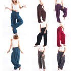 New Womens Aladdin Pants Yoga Fitness Trouser Smocked Waist Elasticized 7 Colors