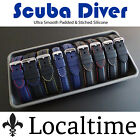 Smooth Padded Rubber Silicone Watch Strap 18-28mm 2 Rubber & 6 Stitch Colours