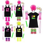 I Love 80s Neon Fancy Dress Costume Tutu Skirt Hen Party Pink T-Shirt Beads Flo