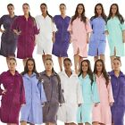 Womens Terry Towelling Zip / Button Through Dressing Gown Bath Robe Wrap 8 - 22