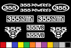 355 V8 POWERED 10 DECAL SET BORED 350 ENGINE STICKER EMBLEM FENDER BADGE DECALS