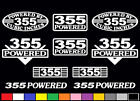 10 DECAL SET 355 CI V8 POWERED ENGINE 5.7 STICKER EMBLEMS BORED 350 VINYL DECALS