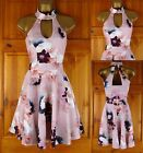 NEW EX CHAINSTORE STRETCHY PINK FLORAL PRINT PARTY COCKTAIL DRESS UK SIZE 6-18