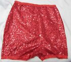 HIGH WAISTED RED SEQUIN SHORTS HOT PANTS LACE EDGE XS S M L XL XXL XXXL