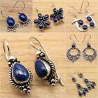 925 Silver Plated Navy Blue LAPIS LAZULI Gem Earrings, Different Styles  Shapes