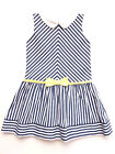 NWT Luli & Me Navy & White Stripe Girls Sleeveless Drop Waist Party Dress 4, 6