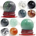 30mm Round Ball Crystal Healing Sphere Massage Rock Stones Stand