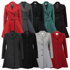 ladies coat womens jacket wool look belt warm long trench winter