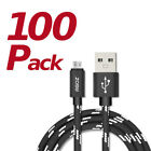 100 Pack Rugged Braided 10ft-6ft Micro USB Fast Charger Cable Cord for LG Phone