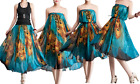 New Ladies Maxi Casual Peacock Dress Party Summer Beach Skirt Casual Dress 8-22