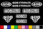 408 CI V8 POWERED 10 DECAL SET ENGINE STICKERS EMBLEMS STROKER VINYL DECALS