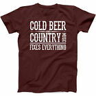 Cold Beer And Country Music T Shirt Girl Southern Country Love Farmer Tee S-3XL