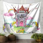 Wall Tapestry Beach Towel White Rainbow Unicorn Fantasy Castle Colorful Printed