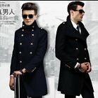 Britsh Fashion Mens Wool Cashmere Overcoat Double Breasted Collar Outwear Jacket