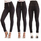 Womens Black High Waist Faded Skinny Fit Ladies Stretchy Denim Jeans Size 6-14