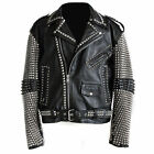 Mens Fashion Jackets Silver Studded Leather Real Leather Slim Fit Biker Jackets