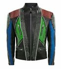 MENS HANDMADE FASHION JACKET REAL LEATHER SILVER STUDDED STYLE CUSTOM MADE