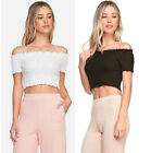 S M L Off The Shoulder Womens Crop Top Cotton Ruffled Summer Shirt White Black