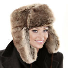 Ladies Faux Fur Trapper Hat Warm Winter Mens Hats Russian Thick Lined Luxury NEW